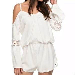Roxy white romper jumpsuit shorts off shoulder NWT